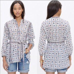 Madewell Picnic Paisley Boho print tunic shirt top